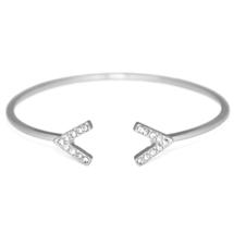 Silver Dual V Shape Gemstone Bracelet, Silver Plated Crystal Pave Cuff B... - $8.00