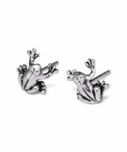 Silver Frog Stud Earrings Stud Earrings, Solid 925 Sterling Silver - $9.00