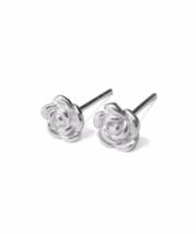 Silver Rose Flower Stud Earrings, 925 Sterling Silver Flower Earrings, Gift Idea - $12.00
