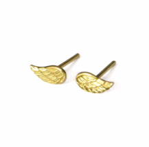 Gold Wing Stud Earrings, Tiny Gold Angel Wings, Angels Jewelry, Gifts for Her - $13.50