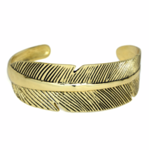 Gold Feather Cuff Bracelet, Adjustable Antique Gold Plated Wide Band Ban... - $10.00