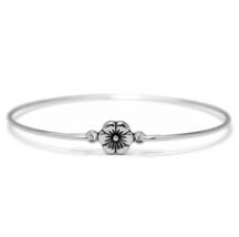 Flower Bangle Bracelet, Thin Silver Plated Antiqued Flower Bracelet - $6.50