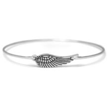Dainty Silver Angel Wing Bangle Bracelet, Silver Plated Wing Bracelet - $7.00