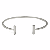 Silver Double Bar Bangle Bracelet, Silver Plated Bar Bracelet, Stacking ... - $10.00