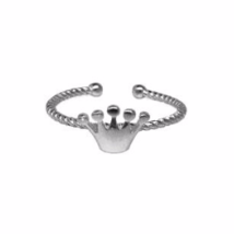 Adjustable Sterling Silver Princess Crown Ring, Thin 925 Sterling Silver... - $13.50