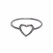 Sterling Silver Twist Heart Ring, Thin 925 Sterling Silver Ring, Rope He... - $13.50