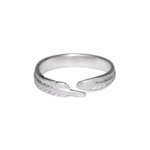 Sterling Silver Feather Ring, 925 Sterling Silver Rings, Simple Adjustable  - $14.65