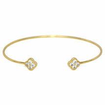 Thin Adjustable Gold Open Dual Clover CZ Bracelet, Delicate Crystal Cuff - $8.00