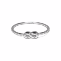 Tiny Sterling Silver Infinity Ring, Dainty Modern 925 Sterling Silver Ring - $15.65