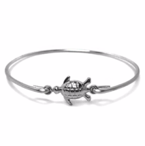Thin Silver Turtle Bracelet, Silver Plated Sea Turtle Charm Bangle Bracelet - $7.00