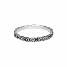Silver Flower Ring, Oxidized 925 Sterling Silver Ring, Simple Silver Boho  - $11.50
