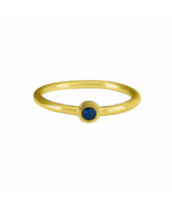 Thin 18K Gold Round Cut Deep Blue Ring, Gift for Her, Tiny CZ Stackable - $14.50