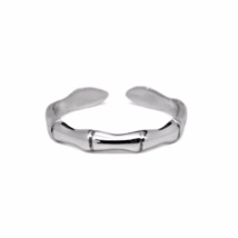 Adjustable Silver Bamboo Ring, 925 Sterling Silver Bamboo Polished Ring,... - $12.50