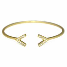Gold Adjustable Open Dual V Shape Gemstone Bracelet, Thin Crystal Pave C... - $8.00