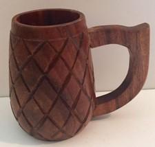 Wood Pineapple Mug Cup Carved Monkey Pod Hawaiian Tropical Vintage - $12.86