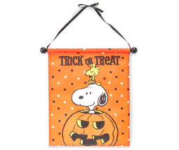 Snoopy & Woodstock Halloween Trick-or-Treat Banner Peanuts Pumpkin - NEW - £14.22 GBP