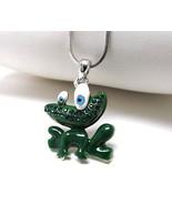Children's Whitegold plating crystal and epoxy frog pendant necklace - $13.00