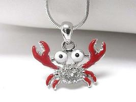 Children's Whitegold  Silver crab pendant necklace - $7.99