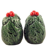 Vintage Lefton Green Holly berry egg shaped sal... - $20.00