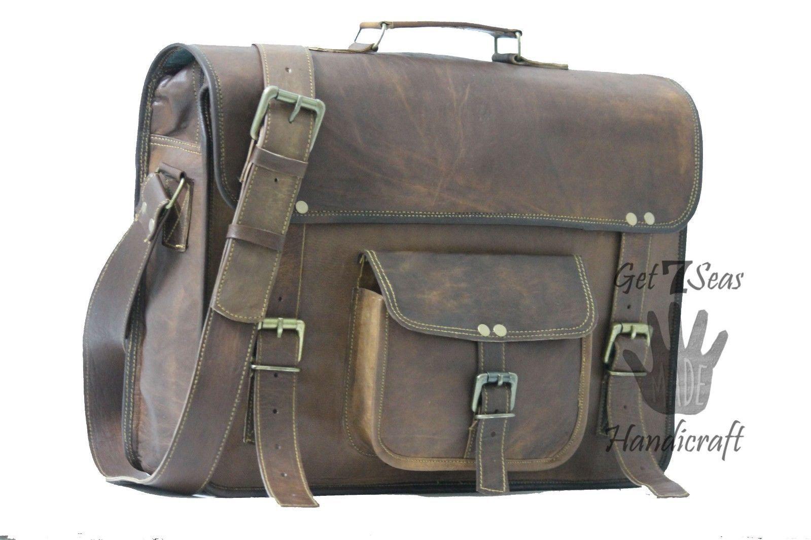 Leather computer bag men's shoulder laptop women satchel briefcase gwnuine Bags image 3