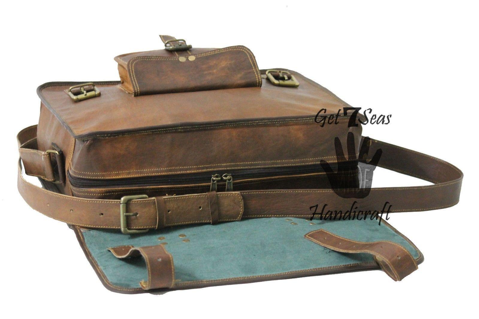 Leather computer bag men's shoulder laptop women satchel briefcase gwnuine Bags image 6