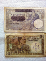 LOT No 47 Second World War 100 and 500 dinars 1941 German Occupation Yugoslavia - $2.99