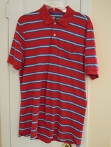 Chaps Men's Size M Red Striped S/S Golf / Polo Shirt ( Superb Condition ! ) - $7.93