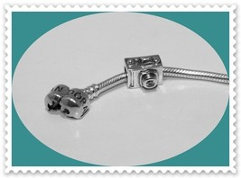 NEW!! Solid 925 Sterling Silver 35 MM PICTURE CAMERA W/CZ LENS Charm Bead - $17.77