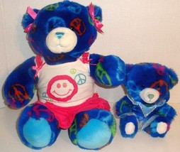 "BUILD A BEAR LOT OF 2 BLUE PEACE TEDDY 15"" PLUS... - $14.99"