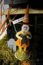 Bethany Lowe Haunted House & 2 Vintage Spun Cotton  Figurines!  light included image 5
