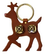 RUDOLPH BROWN LEATHER DOOR CHIME Crystal Nose & Sleigh Bells Amish Handm... - $22.74