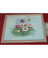 """FLORAL 15"""" X 12"""" CANVAS PAINTING ART MARIO WOOD FRAMED by FREDRIX USA - $18.05"""