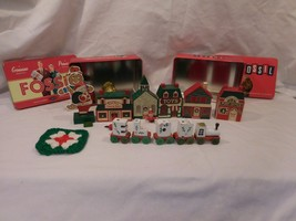 Wooden village 5 Pieces + Noel Candle Train in 2 Tins tree ornament Santa + - $20.71