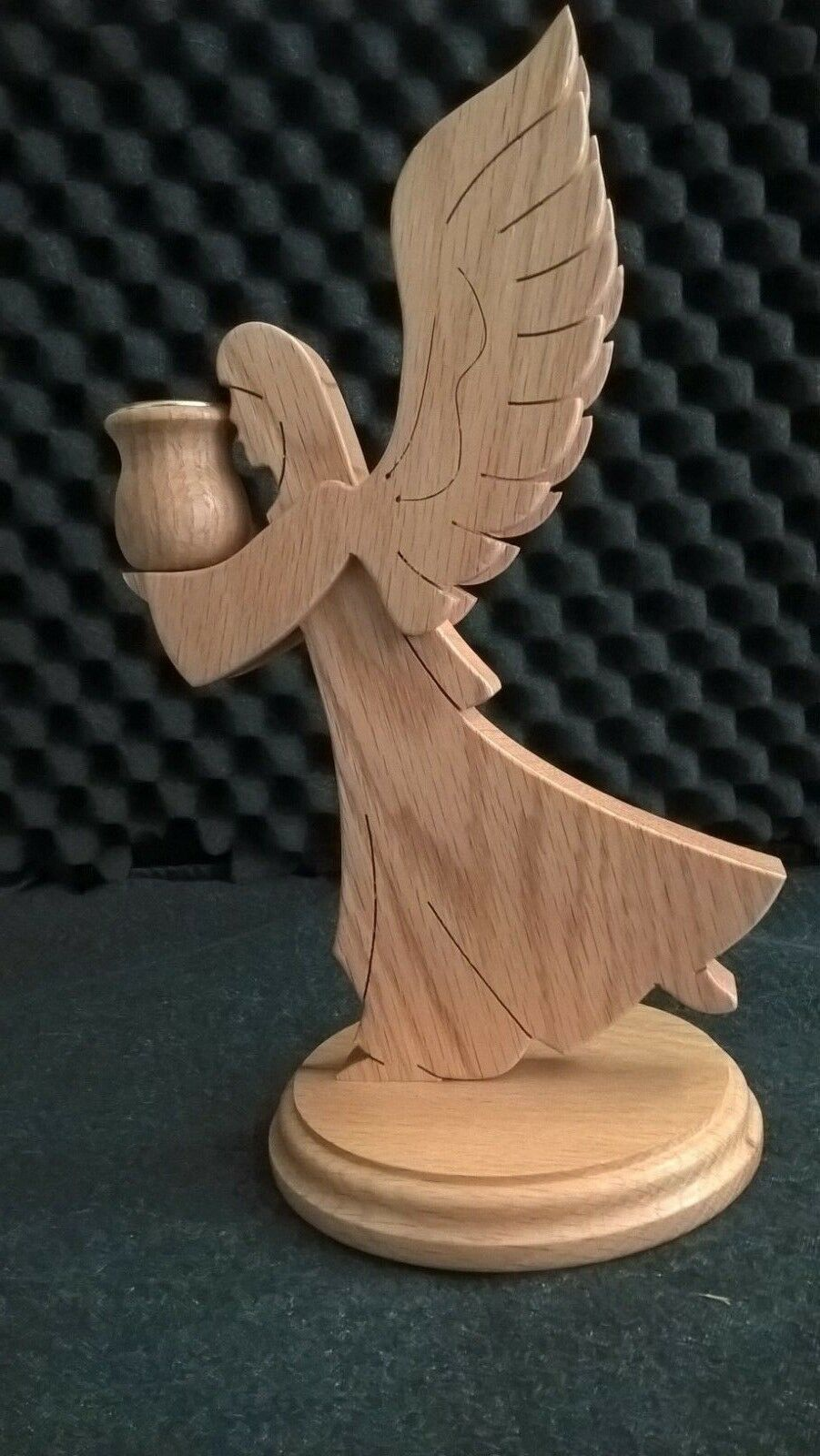 Primary image for Vintage Wood Angel Candle Holder Wood Hand Crafted