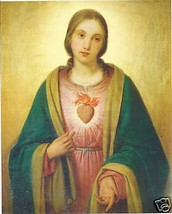 Catholic Print Picture Immaculate Heart of Mary by Chierici - ready to f... - $14.01