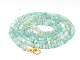 """Natural Larimar 3-4mm rondelle faceted beads 16"""" beaded Choker Collar necklace - $21.75"""