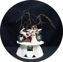 Motorcycle Black African-American Wedding Cake topper ornament centerpiece tree - $39.11