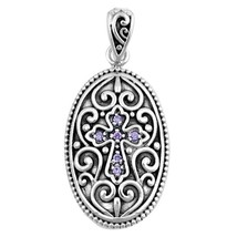 925 Sterling Silver Heart Cross Pendant w/ Amethyst CZ + FREE Cable Chain - $27.92