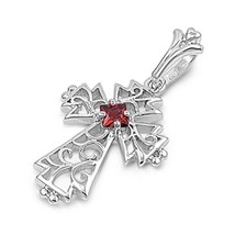 Stunning 925 Sterling Silver Cross Pendant Garnet CZ Cubic Zirconia Cabl... - $25.11