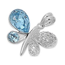 925 Sterling Silver Butterfly Pendant with Clear CZ Topaz CZ + FREE Cabl... - $30.72