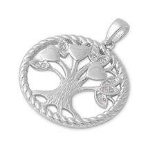 925 Sterling Silver Tree of Life Heart Pendant with Clear CZ + FREE Cabl... - $27.92