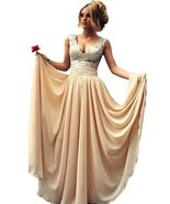 Women's Champagne Sequins Prom Dress Long, Evening Dress,Party Dress, Pr... - $88.00