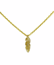 Dainty Gold Feather Necklace, Simple Feather Pendant Necklace, Gift for Her - $18.85