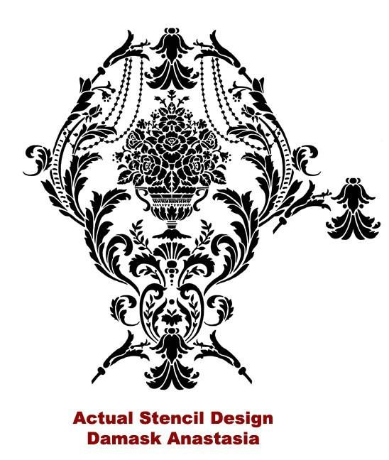 Damask Stencil Anastasia - Reusable stencils instead of wallpaper - DIY decor