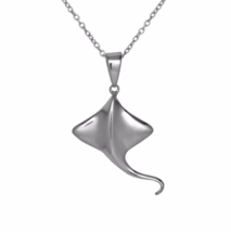 Silver Stingray Pendant Necklace, Sea Life Charm Necklace, 925 Sterling ... - $22.00