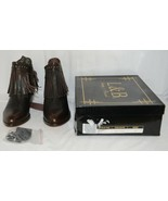 Lucky And Blessed SH 11 Dark Brown Leather Boots Fringe Metal Studs Size 9 - $149.00