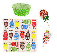 Owl Cupcake Party Pack Birthday Baking Kit Line... - $15.95