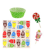 Owl Cupcake Party Pack Birthday Baking Kit Liners Toppers Sweets Napkins - $15.95