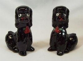 Vintage Redware Dog Figurines Red Clay Black French Poodle Redware Japan - $15.99