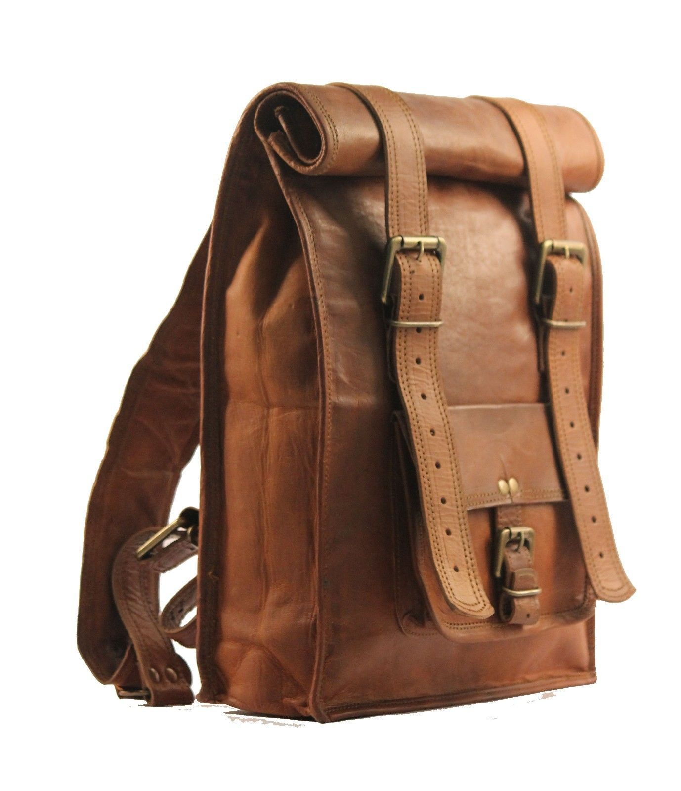 Men S Vintage Brown Leather Backpack Bag Shoulder Laptop